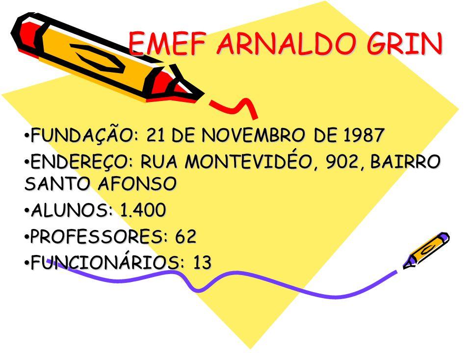 EMEF ARNALDO GRIN FUNDAÇÃO: 21 DE NOVEMBRO DE 1987 FUNDAÇÃO: 21 DE NOVEMBRO DE 1987 ENDEREÇO: RUA MONTEVIDÉO, 902, BAIRRO SANTO AFONSO ENDEREÇO: RUA M