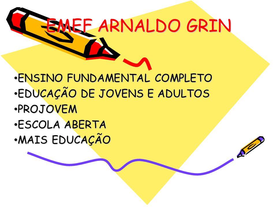 EMEF ARNALDO GRIN ENSINO FUNDAMENTAL COMPLETO ENSINO FUNDAMENTAL COMPLETO EDUCAÇÃO DE JOVENS E ADULTOS EDUCAÇÃO DE JOVENS E ADULTOS PROJOVEM PROJOVEM