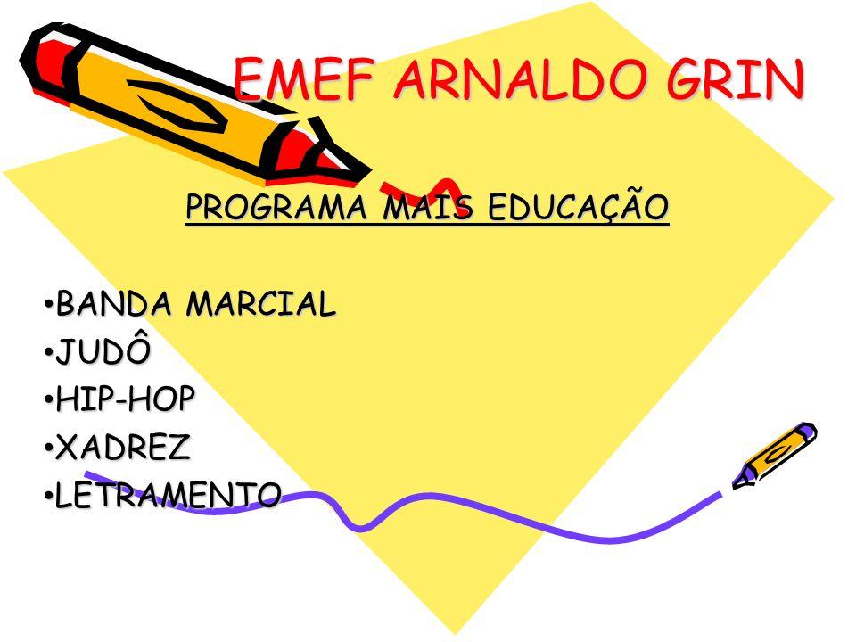 EMEF ARNALDO GRIN PROGRAMA MAIS EDUCAÇÃO BANDA MARCIAL BANDA MARCIAL JUDÔ JUDÔ HIP-HOP HIP-HOP XADREZ XADREZ LETRAMENTO LETRAMENTO