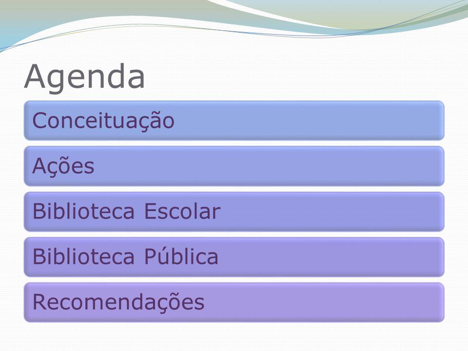 Agenda ConceituaçãoAçõesBiblioteca EscolarBiblioteca PúblicaRecomendações