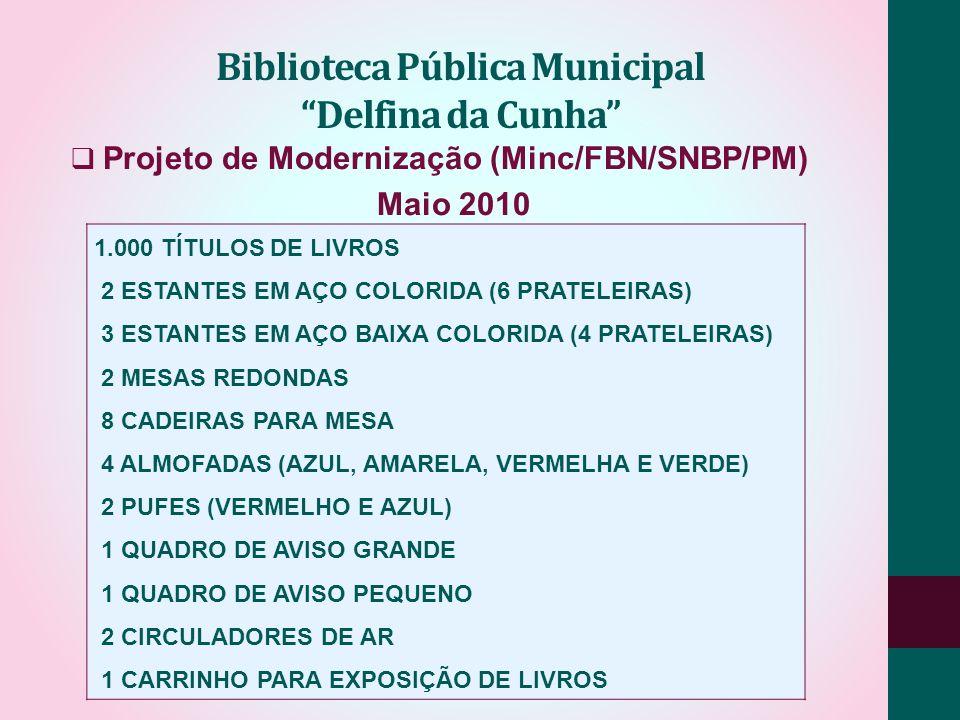Projeto de Modernização (Minc/FBN/SNBP/PM) Maio 2010 Biblioteca Pública Municipal Delfina da Cunha 1.000 TÍTULOS DE LIVROS 2 ESTANTES EM AÇO COLORIDA