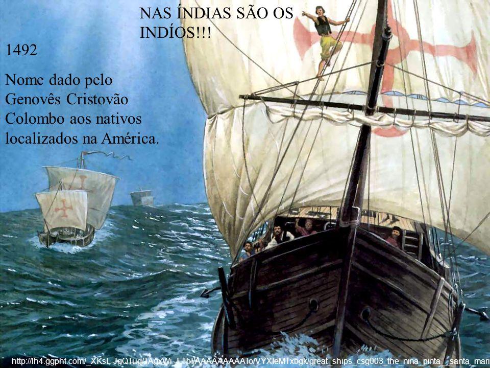 NAS ÍNDIAS SÃO OS INDÍOS!!! 1492 Nome dado pelo Genovês Cristovão Colombo aos nativos localizados na América. http://lh4.ggpht.com/_XKsL-JgQTug/TAgxWi