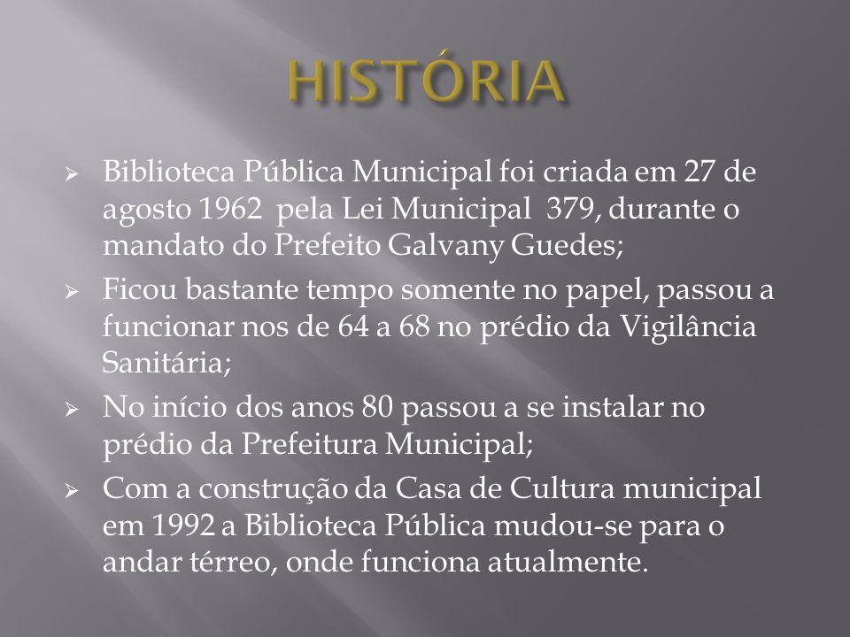 Biblioteca Pública Municipal foi criada em 27 de agosto 1962 pela Lei Municipal 379, durante o mandato do Prefeito Galvany Guedes; Ficou bastante temp