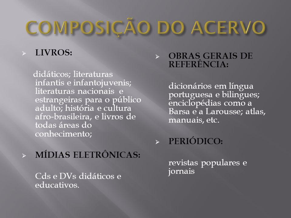 LIVROS: didáticos; literaturas infantis e infantojuvenis; literaturas nacionais e estrangeiras para o público adulto; história e cultura afro-brasilei