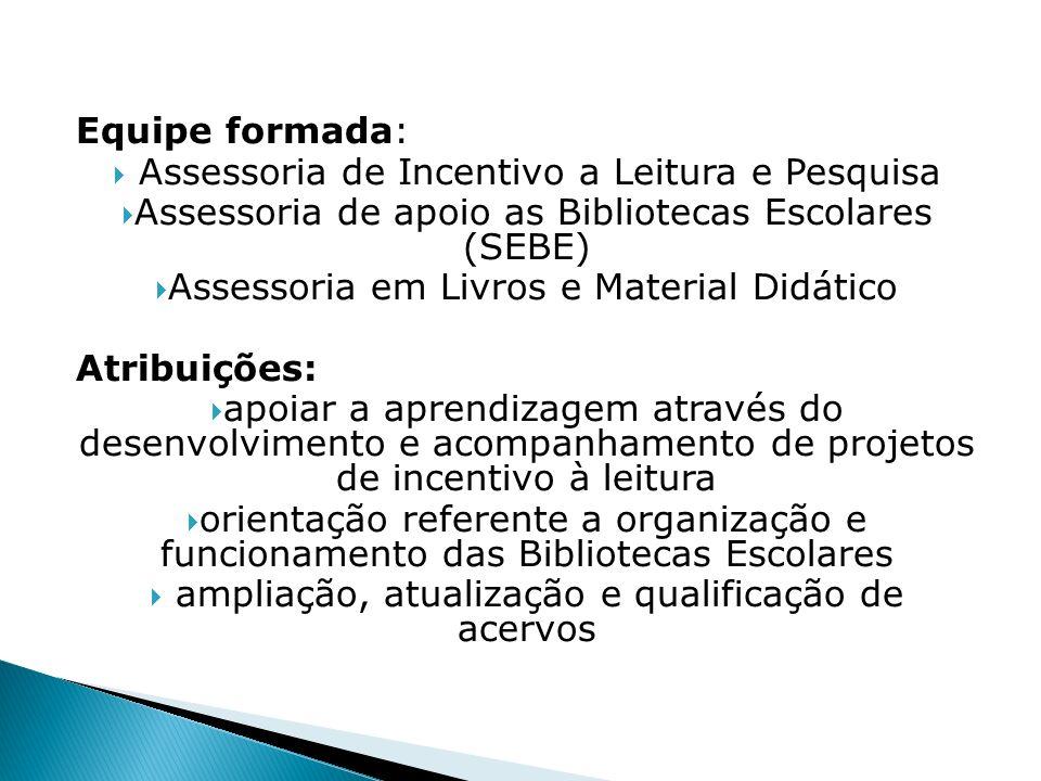 Equipe formada: Assessoria de Incentivo a Leitura e Pesquisa Assessoria de apoio as Bibliotecas Escolares (SEBE) Assessoria em Livros e Material Didát