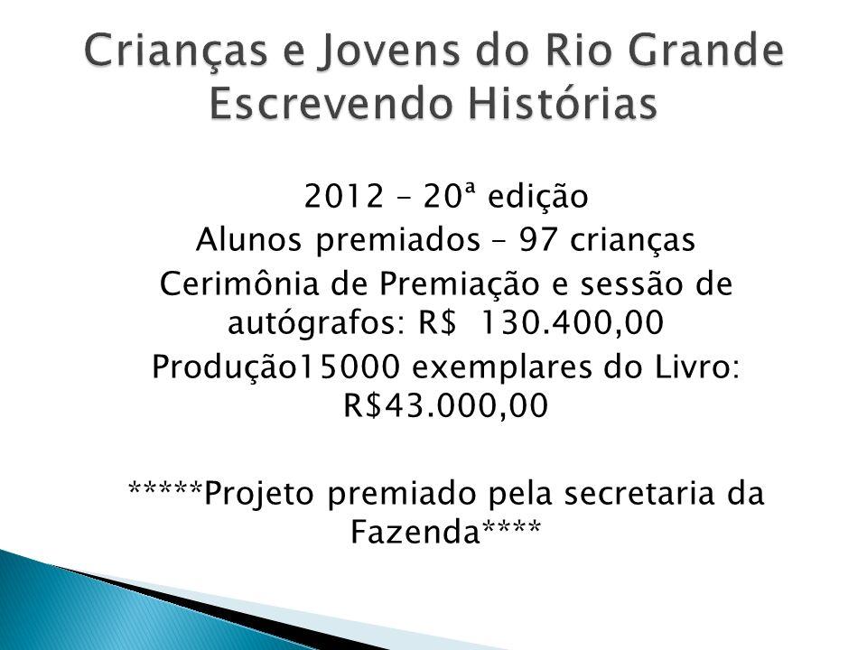 2012 – 20ª edição Alunos premiados – 97 crianças Cerimônia de Premiação e sessão de autógrafos: R$ 130.400,00 Produção15000 exemplares do Livro: R$43.