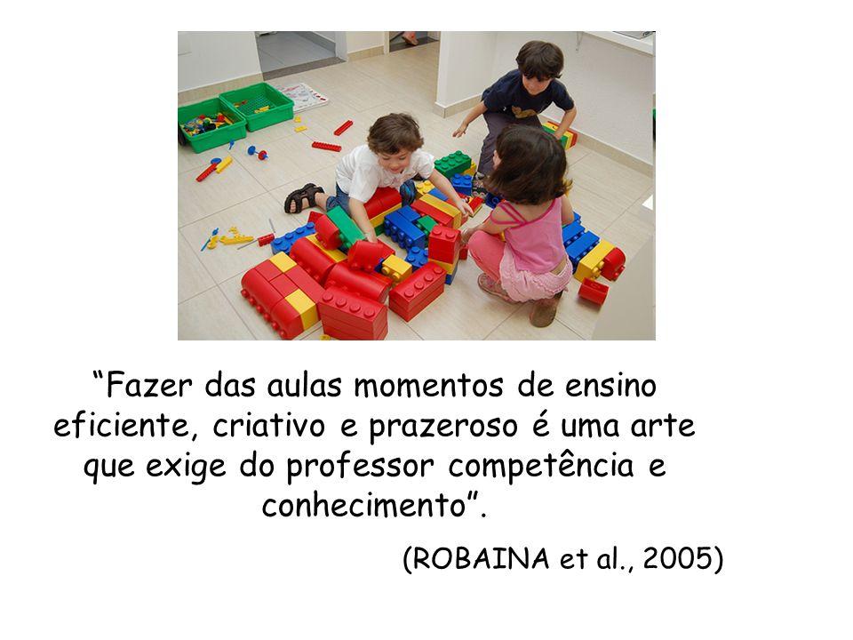 Fazer das aulas momentos de ensino eficiente, criativo e prazeroso é uma arte que exige do professor competência e conhecimento. (ROBAINA et al., 2005