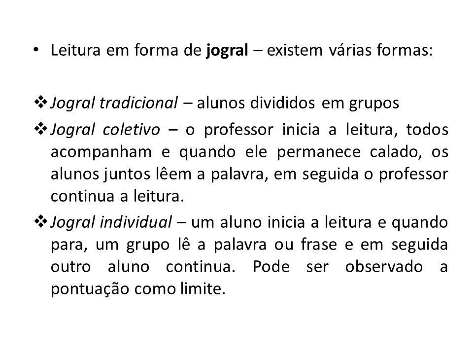 Leitura em forma de jogral – existem várias formas: Jogral tradicional – alunos divididos em grupos Jogral coletivo – o professor inicia a leitura, to