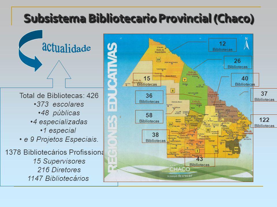 Subsistema Bibliotecario Provincial (Chaco) Total de Bibliotecas: 426 373 escolares 48 públicas 4 especializadas 1 especial e 9 Projetos Especiais.