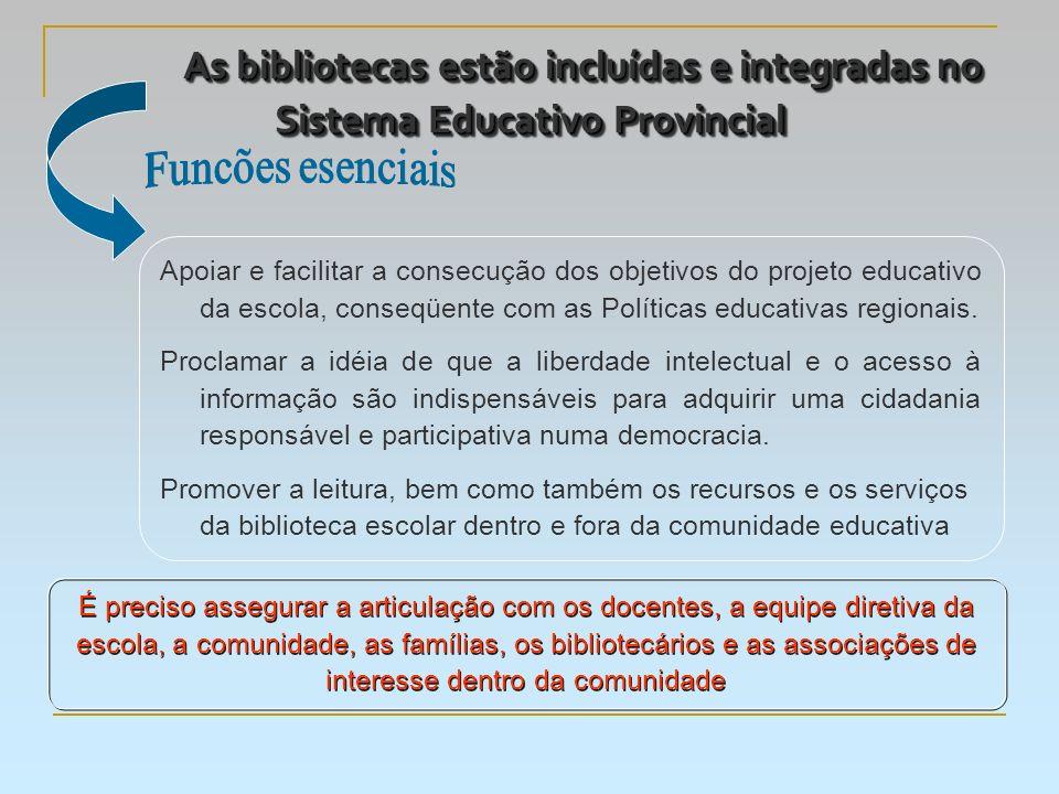 As bibliotecas estão incluídas e integradas no Sistema Educativo Provincial Apoiar e facilitar a consecução dos objetivos do projeto educativo da escola, conseqüente com as Políticas educativas regionais.