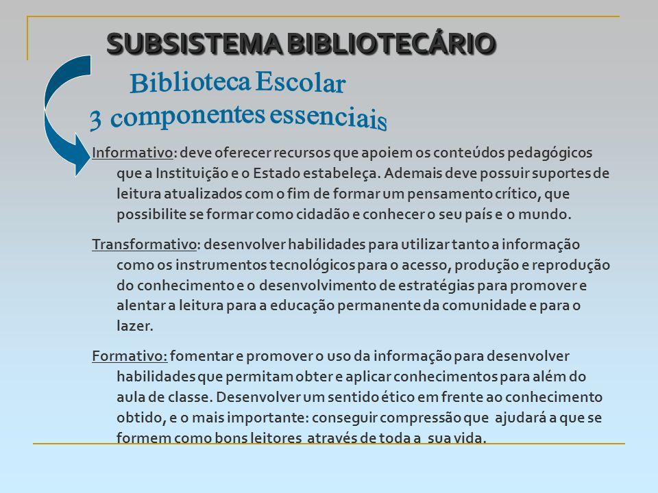 SUBSISTEMA BIBLIOTECÁRIO Informativo: deve oferecer recursos que apoiem os conteúdos pedagógicos que a Instituição e o Estado estabeleça.
