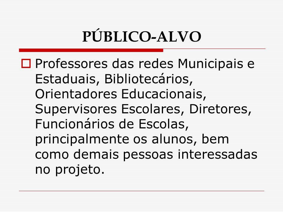 PÚBLICO-ALVO Professores das redes Municipais e Estaduais, Bibliotecários, Orientadores Educacionais, Supervisores Escolares, Diretores, Funcionários de Escolas, principalmente os alunos, bem como demais pessoas interessadas no projeto.