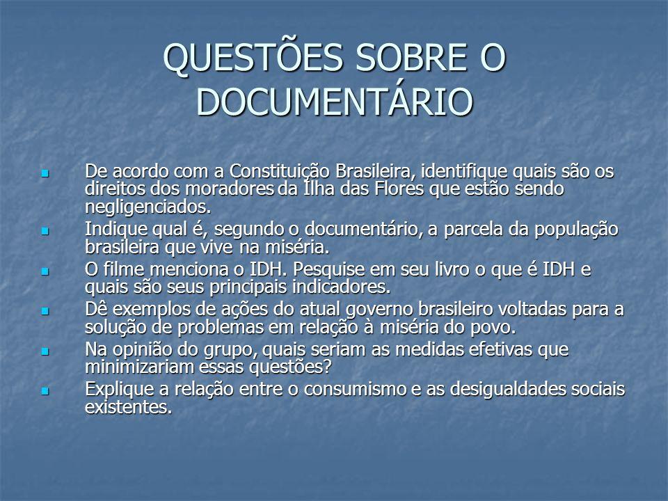 QUESTÕES SOBRE O DOCUMENTÁRIO De acordo com a Constituição Brasileira, identifique quais são os direitos dos moradores da Ilha das Flores que estão se