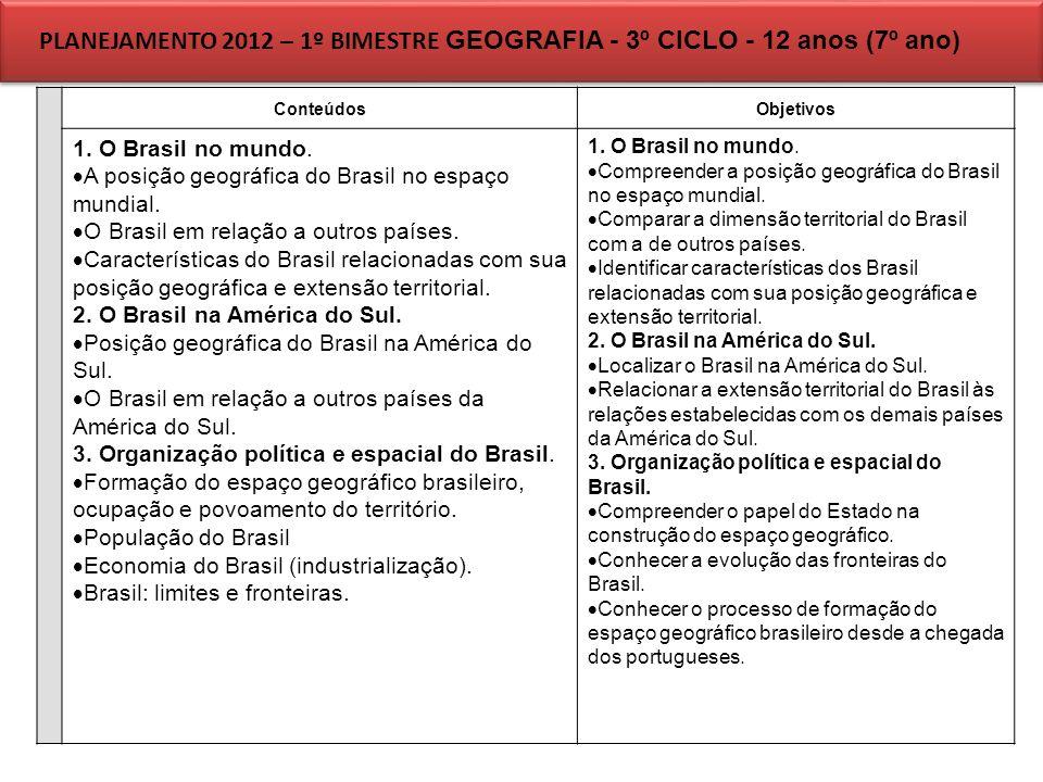 PLANEJAMENTO 2012 – 1º BIMESTRE GEOGRAFIA - 3º CICLO - 12 anos (7º ano) ConteúdosObjetivos 1. O Brasil no mundo. A posição geográfica do Brasil no esp