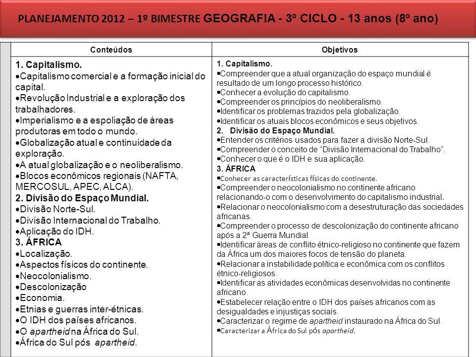 PLANEJAMENTO 2012 – 1º BIMESTRE GEOGRAFIA - 3º CICLO - 13 anos (8º ano) ConteúdosObjetivos 1. Capitalismo. Capitalismo comercial e a formação inicial