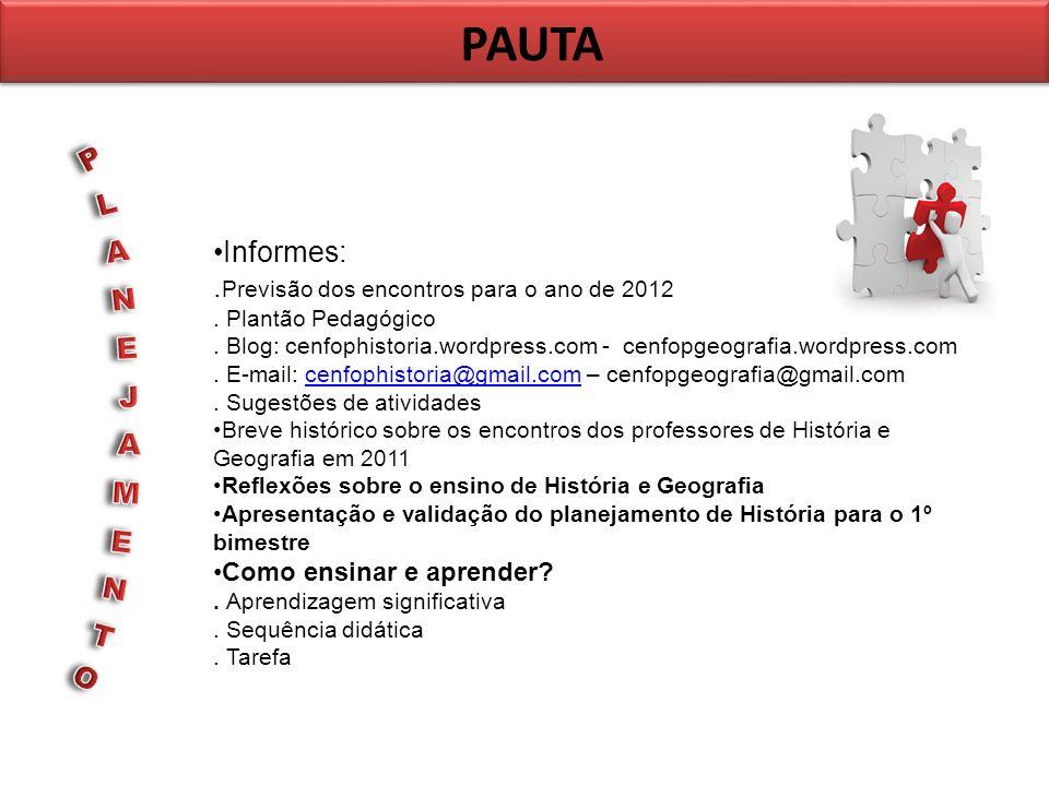 PAUTA Informes:. Previsão dos encontros para o ano de 2012. Plantão Pedagógico. Blog: cenfophistoria.wordpress.com - cenfopgeografia.wordpress.com. E-