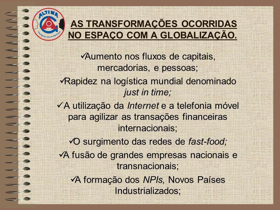 AS TRANSFORMAÇÕES OCORRIDAS NO ESPAÇO COM A GLOBALIZAÇÃO. Aumento nos fluxos de capitais, mercadorias, e pessoas; Rapidez na logística mundial denomin