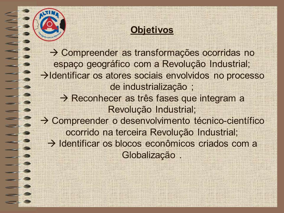 Objetivos Compreender as transformações ocorridas no espaço geográfico com a Revolução Industrial; Identificar os atores sociais envolvidos no process