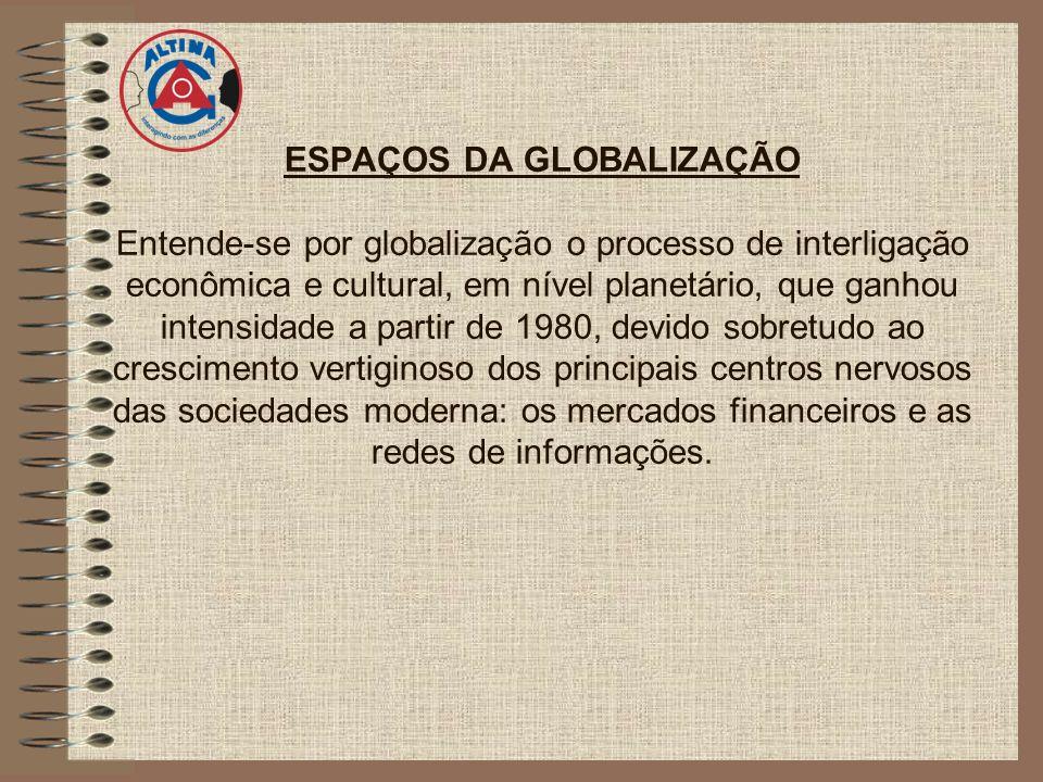 ESPAÇOS DA GLOBALIZAÇÃO Entende-se por globalização o processo de interligação econômica e cultural, em nível planetário, que ganhou intensidade a par