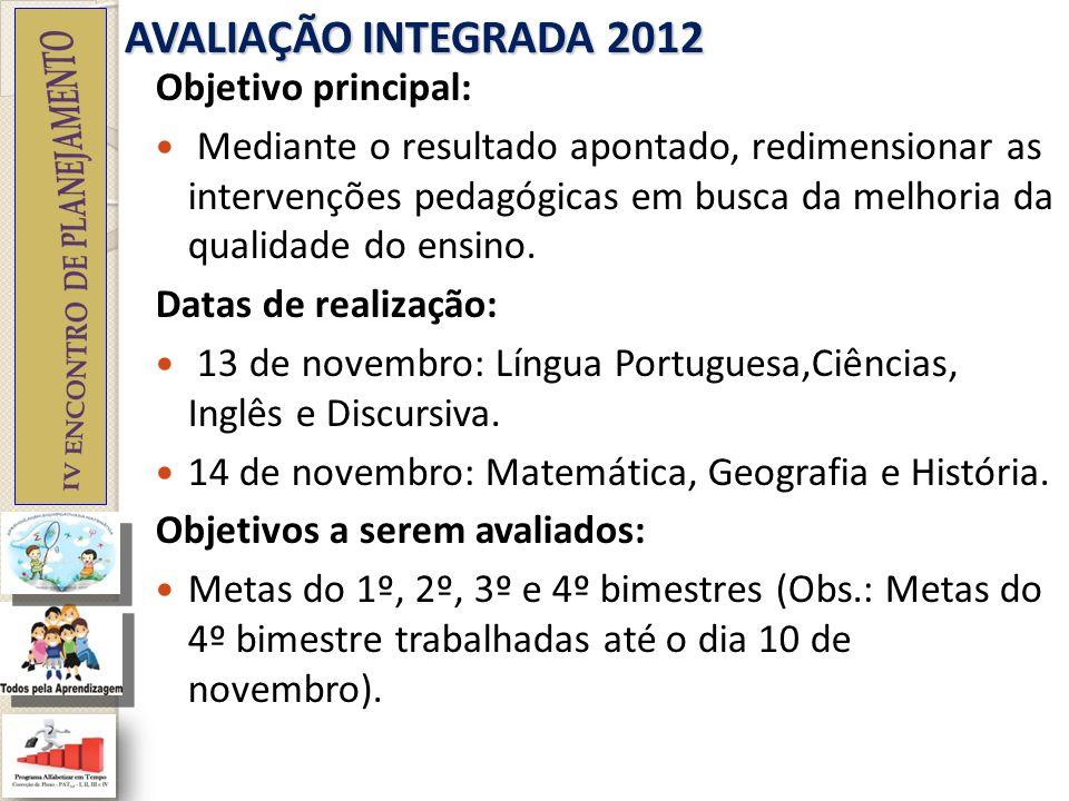 AVALIAÇÃO INTEGRADA 2012 Formato: 30 questões objetivas com 4 alternativas cada, tendo apenas uma alternativa correta por questão.