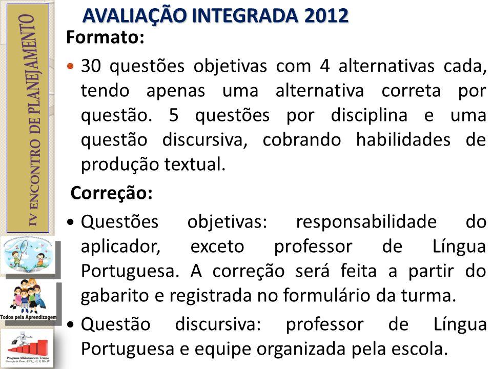 AVALIAÇÃO INTEGRADA 2012 Pontuação Questões objetivas: 3 pontos cada uma das 30 questões (90 pontos).