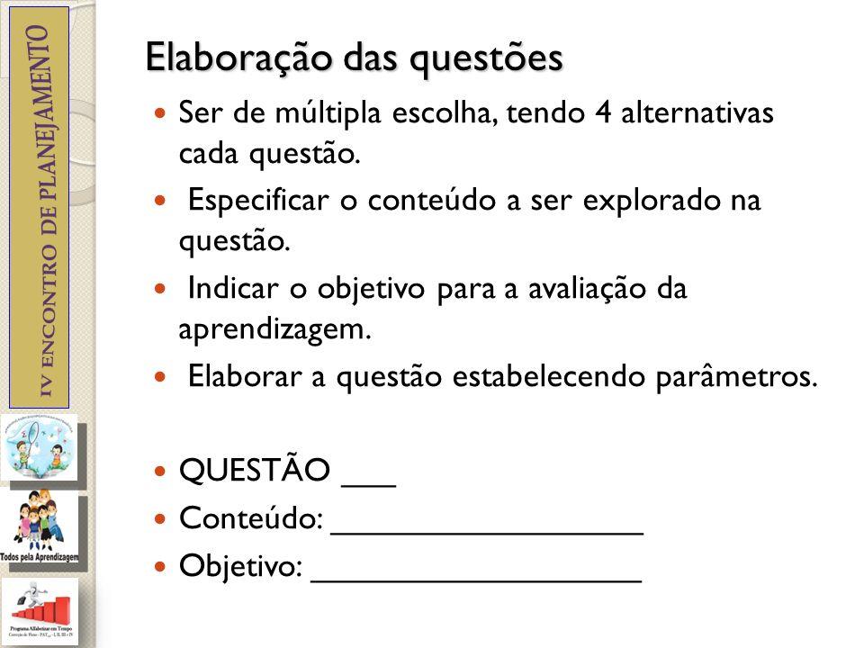 Elaboração das questões Elaborar questões que exijam diferentes operações do pensamento.