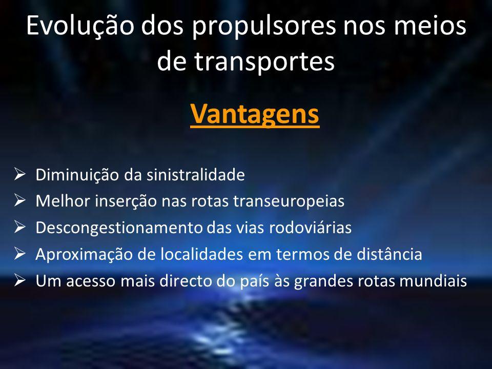 Evolução dos propulsores nos meios de transportes Vantagens Diminuição da sinistralidade Melhor inserção nas rotas transeuropeias Descongestionamento