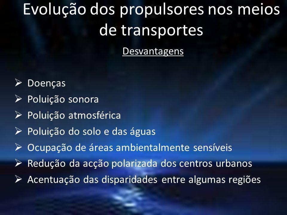 Evolução dos propulsores nos meios de transportes Desvantagens Doenças Poluição sonora Poluição atmosférica Poluição do solo e das águas Ocupação de á