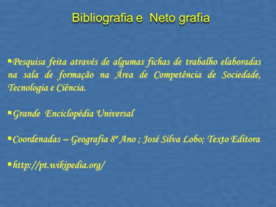 Bibliografia e Neto grafia Pesquisa feita através de algumas fichas de trabalho elaboradas na sala de formação na Área de Competência de Sociedade, Te