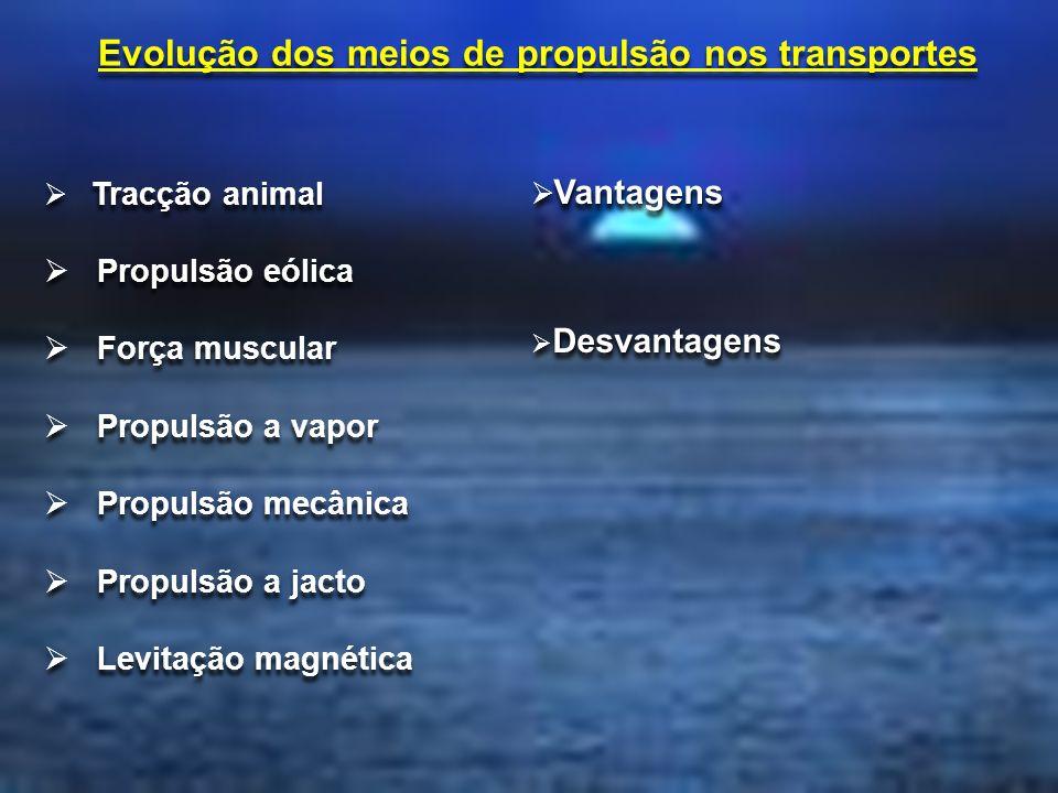 Tracção animal Propulsão eólica Força muscular Propulsão a vapor Propulsão mecânica Propulsão a jacto Levitação magnética Tracção animal Propulsão eól