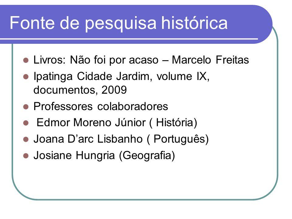Fonte de pesquisa histórica Livros: Não foi por acaso – Marcelo Freitas Ipatinga Cidade Jardim, volume IX, documentos, 2009 Professores colaboradores