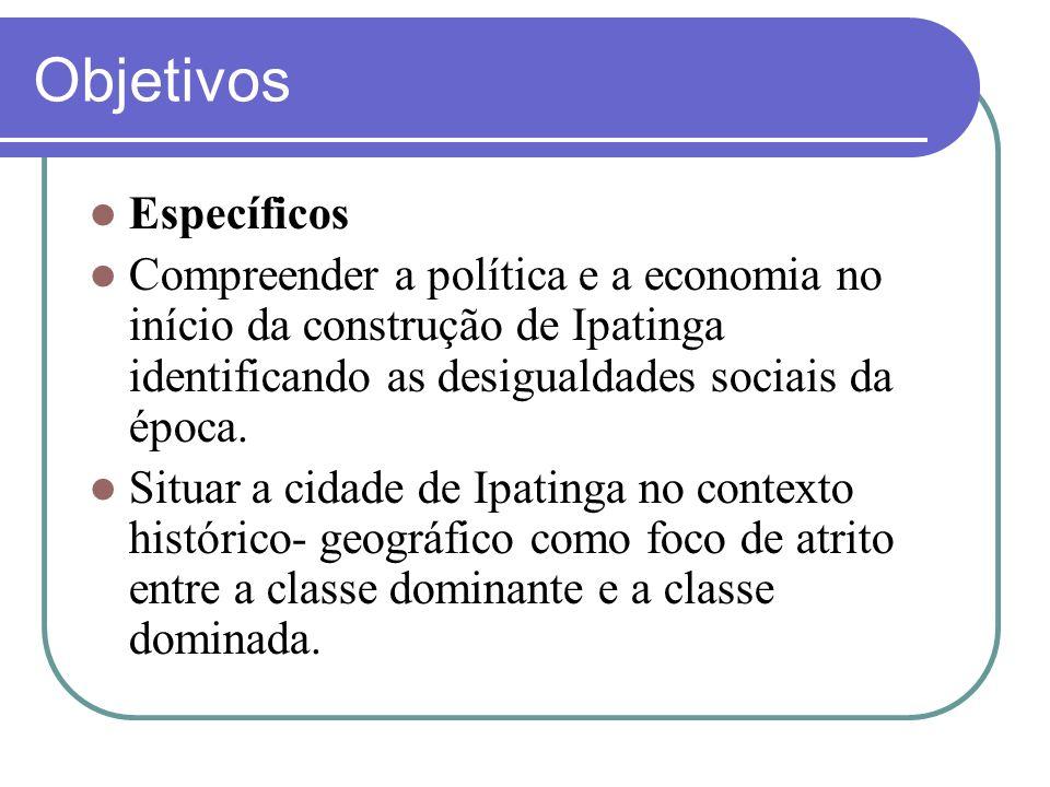 Objetivos Específicos Compreender a política e a economia no início da construção de Ipatinga identificando as desigualdades sociais da época. Situar