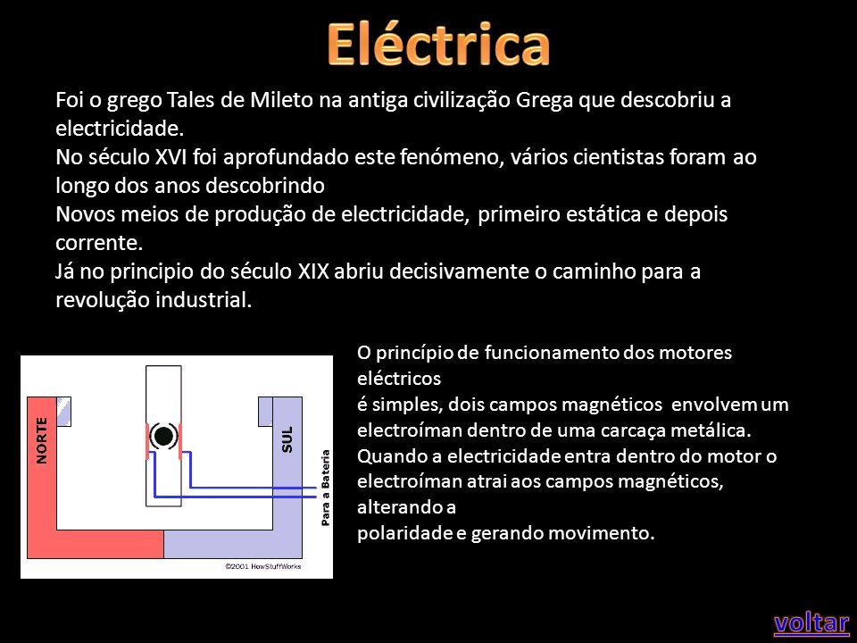 Foi o grego Tales de Mileto na antiga civilização Grega que descobriu a electricidade. No século XVI foi aprofundado este fenómeno, vários cientistas