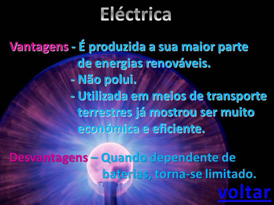 Vantagens - É produzida a sua maior parte de energias renováveis. de energias renováveis. - Não polui. - Não polui. - Utilizada em meios de transporte