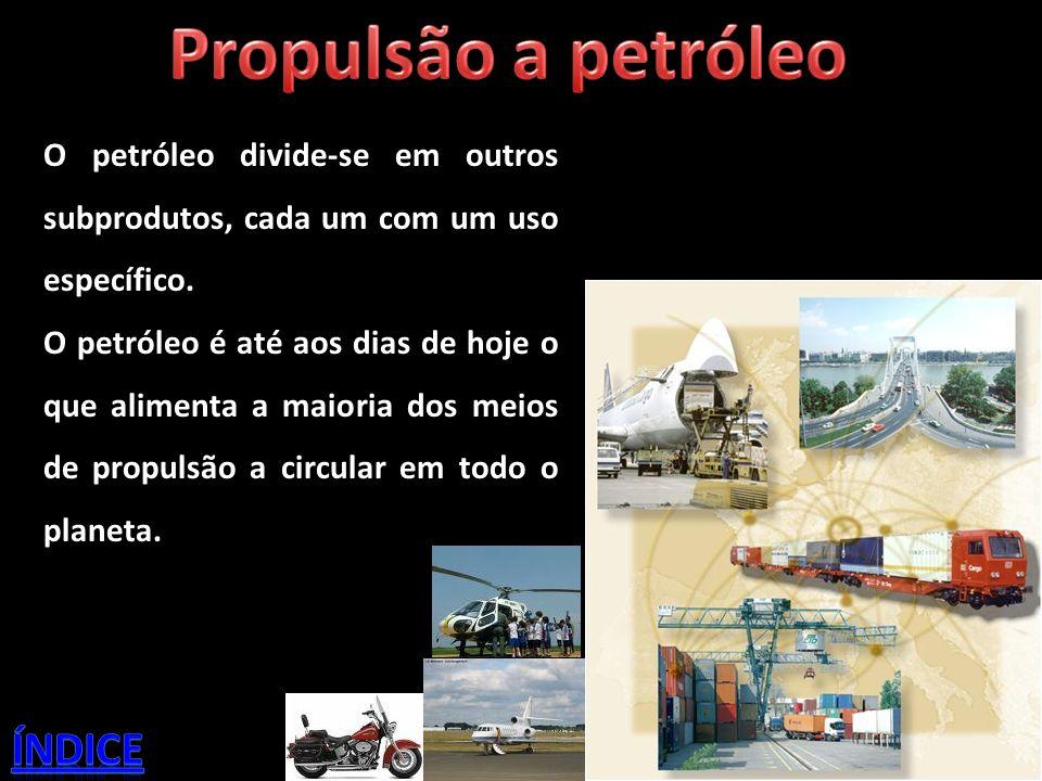 O petróleo divide-se em outros subprodutos, cada um com um uso específico. O petróleo é até aos dias de hoje o que alimenta a maioria dos meios de pro