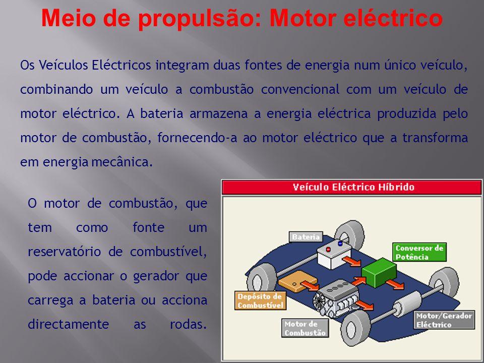 Os Veículos Eléctricos integram duas fontes de energia num único veículo, combinando um veículo a combustão convencional com um veículo de motor eléct