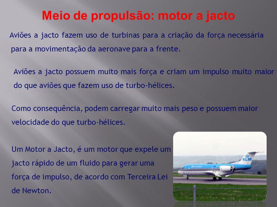 Aviões a jacto fazem uso de turbinas para a criação da força necessária para a movimentação da aeronave para a frente. Como consequência, podem carreg