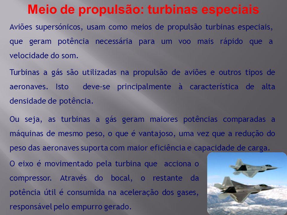 Aviões supersónicos, usam como meios de propulsão turbinas especiais, que geram potência necessária para um voo mais rápido que a velocidade do som. T