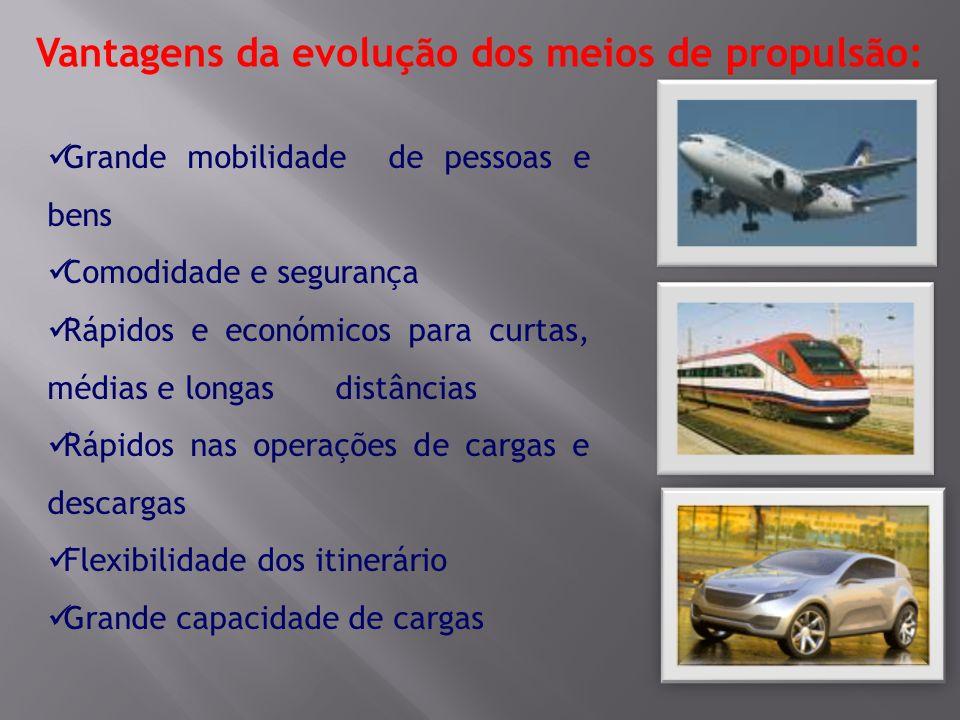 Vantagens da evolução dos meios de propulsão: Grande mobilidade de pessoas e bens Comodidade e segurança Rápidos e económicos para curtas, médias e lo