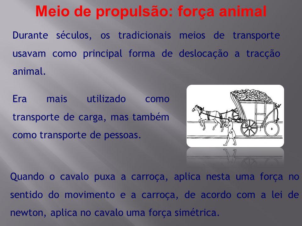 Durante séculos, os tradicionais meios de transporte usavam como principal forma de deslocação a tracção animal. Era mais utilizado como transporte de