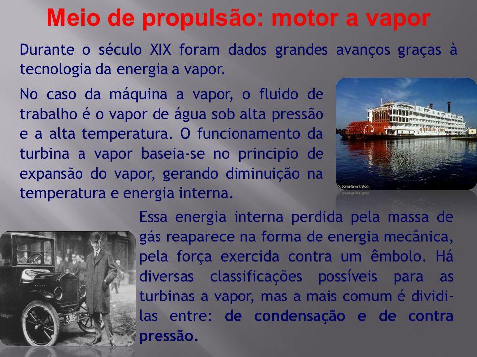 Durante o século XIX foram dados grandes avanços graças à tecnologia da energia a vapor. Meio de propulsão: motor a vapor No caso da máquina a vapor,