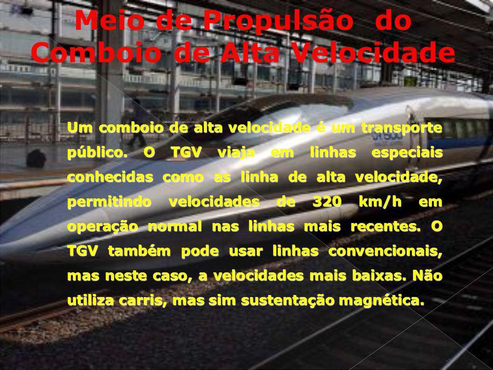 Meio de Propulsão do Comboio de Alta Velocidade Um comboio de alta velocidade é um transporte público. O TGV viaja em linhas especiais conhecidas como