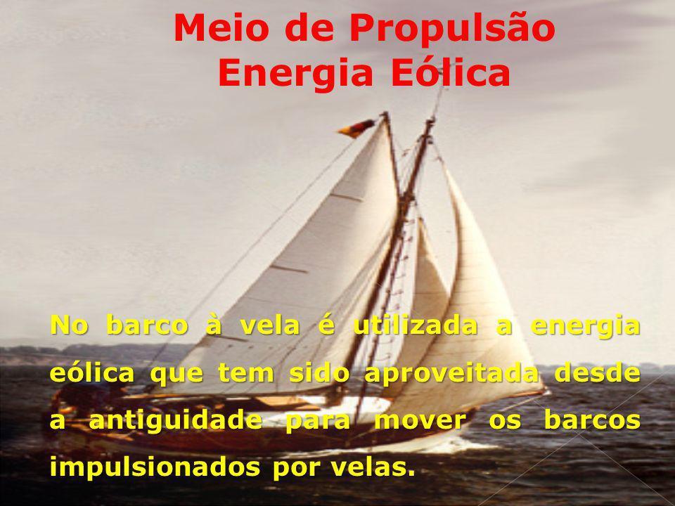 Meio de Propulsão Energia Eólica No barco à vela é utilizada a energia eólica que tem sido aproveitada desde a antiguidade para mover os barcos impuls
