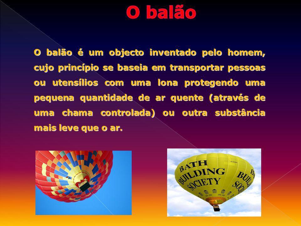 O balão é um objecto inventado pelo homem, cujo princípio se baseia em transportar pessoas ou utensílios com uma lona protegendo uma pequena quantidad