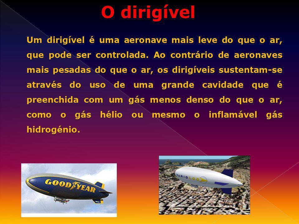 Um dirigível é uma aeronave mais leve do que o ar, que pode ser controlada. Ao contrário de aeronaves mais pesadas do que o ar, os dirigíveis sustenta