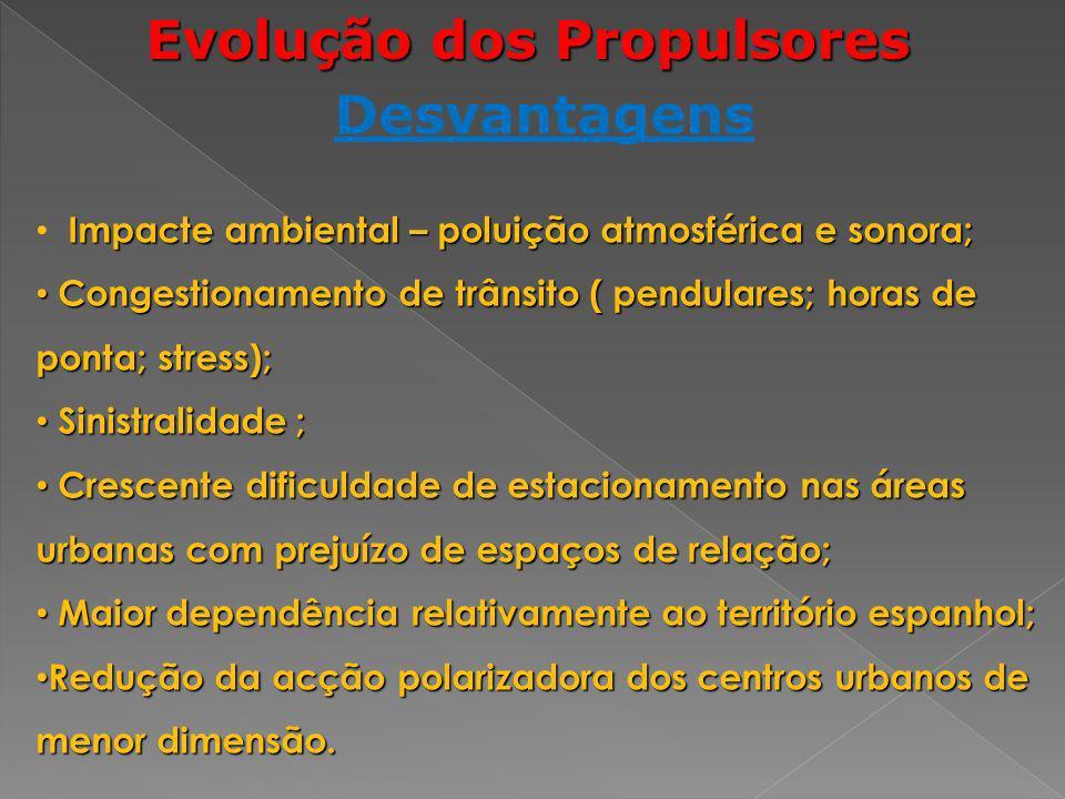Evolução dos Propulsores Desvantagens Impacte ambiental – poluição atmosférica e sonora; Congestionamento de trânsito ( pendulares; horas de ponta; st