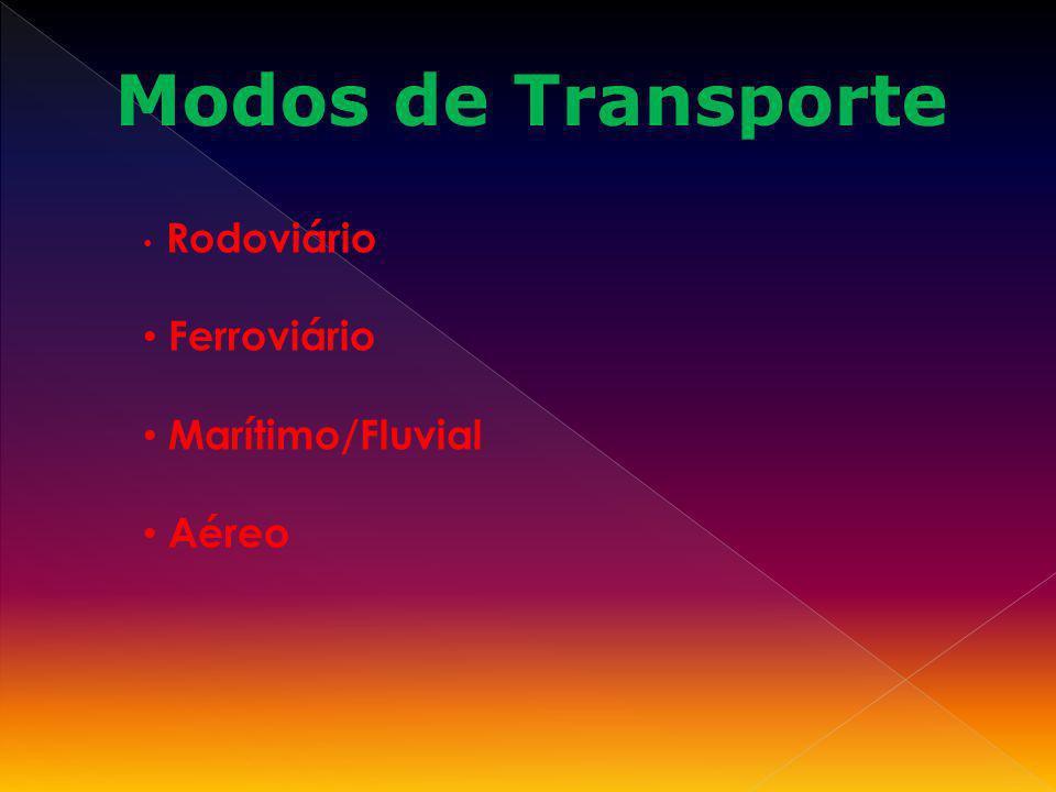 Rodoviário Ferroviário Marítimo/Fluvial Aéreo Modos de Transporte