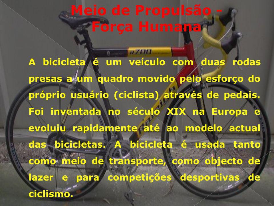 Meio de Propulsão - Força Humana A bicicleta é um veículo com duas rodas presas a um quadro movido pelo esforço do próprio usuário (ciclista) através