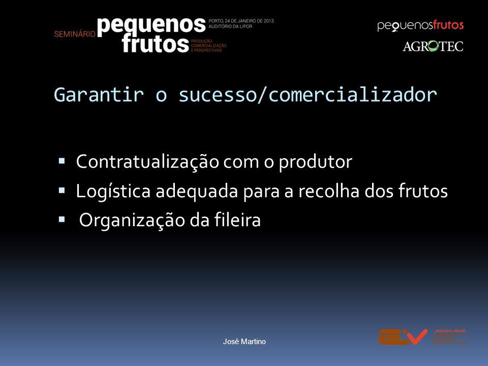 Garantir o sucesso/comercializador Contratualização com o produtor Logística adequada para a recolha dos frutos Organização da fileira José Martino