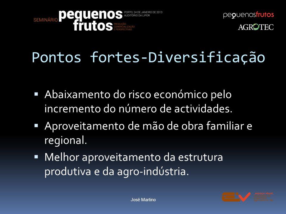 Pontos fortes-Diversificação Abaixamento do risco económico pelo incremento do número de actividades. Aproveitamento de mão de obra familiar e regiona